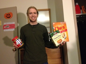 La Salle student Bill Repetto poses with some of his gluten free food. Without Fresh Grocer, Repetto wouldn't be sure where he could get food from.